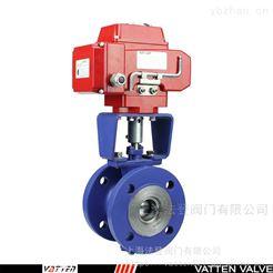 Q940F电动V型衬氟调节阀 耐酸碱电动球阀
