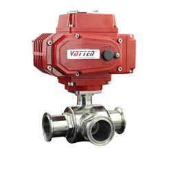 Q644F饮料厂用电动三通分流阀 食品快装换向阀
