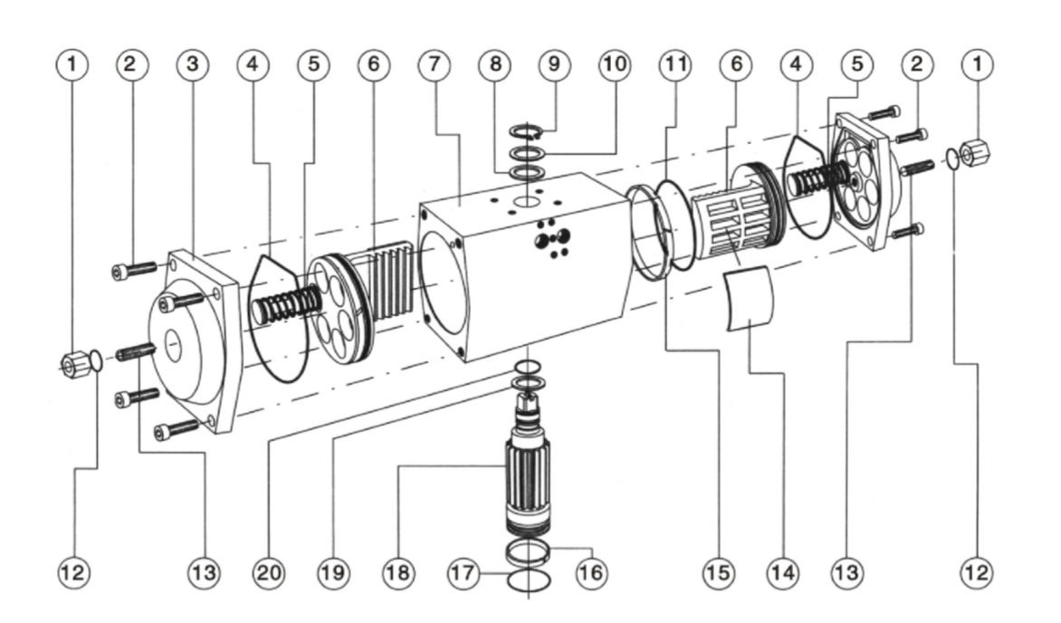 GT氣動執行器分解圖